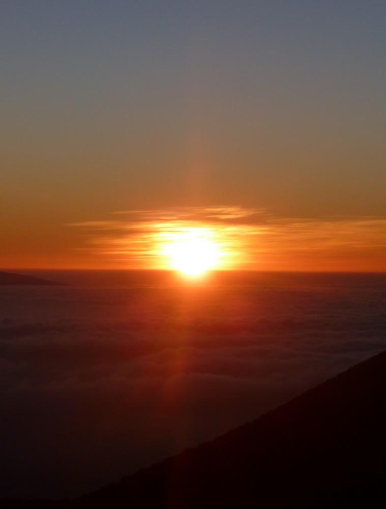coucher de soleil mauna kea hawaï